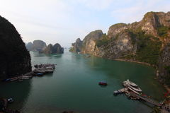 Landscape view from outside Sung Sot Cave. In UNESCO World Heritage Site, Ha Long Bay royalty free stock photo