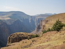 Landscape view over deep canyon in the mountains of Lesotho near Semonkong, Southern Africa Stock Photo