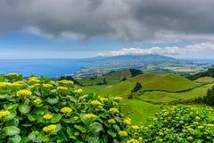 Landscape view over Miradouro da Grota do Inferno, in Sao Miguel. Azores Portugal Royalty Free Stock Image