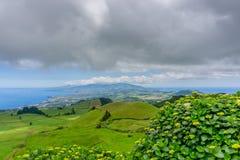 Landscape view over Miradouro da Grota do Inferno, in Sao Miguel. Azores Portugal Royalty Free Stock Photo