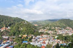 Landscape view over Tachileik community myanmar between border thai - myanmar from Wat Prathat Doi Wao temple view point at Maes. Ai, Chiangrai, Thailand in the stock photos