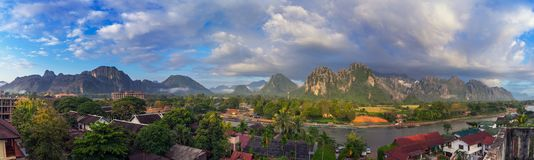Landscape view panorama at morning in Vang Vieng, Laos. Landscape view panorama at morning in Vang Vieng, Laos Stock Photography