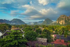 Landscape view panorama at morning in Vang Vieng, Laos. Landscape view panorama at morning in Vang Vieng, Laos royalty free stock images
