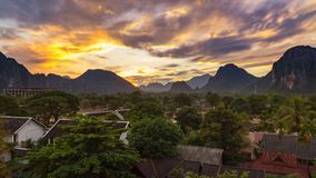 Landscape view panorama at Sunset in Vang Vieng, Laos. Landscape view panorama at Sunset in Vang Vieng, Laos stock photos