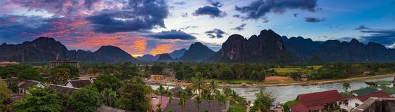 Landscape view panorama at Sunset in Vang Vieng, Laos. Landscape view panorama at Sunset in Vang Vieng, Laos royalty free stock photography