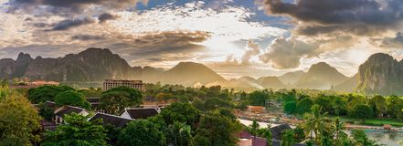 Landscape view panorama at Sunset in Vang Vieng, Laos. Landscape view panorama at Sunset in Vang Vieng, Laos Stock Photography