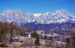 View of Dolomites near Cortina D& x27;Ampezzo, Veneto region, Italy. Landscape view from Pocol stock image
