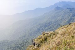 Landscape view from view point at Phu Chi Fa mountain national park Chiang Rai, Thailand royalty free stock image