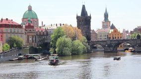 Landscape view of Prague With The Charles Bridge, Czech Republic stock footage