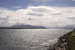 Landscape view from Puerto Natales in Patagonia, Chile Royalty Free Stock Photography
