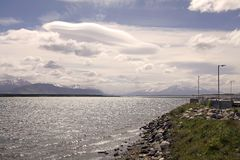 Landscape view from Puerto Natales in Patagonia, Chile Stock Photo