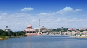Landscape view of Putra mosque and office building of the prime minister at Putrajaya, Malaysia during morning. Landscape view bui royalty free stock photography