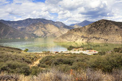 Landscape view of Pyramid Lake, California, USA. Pyramid Lake is a reservoir formed by Pyramid Dam on Piru Creek in the eastern San Emigdio Mountains, near Royalty Free Stock Photography