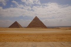 Landscape view at the Pyramids of Giza and Cairo royalty free stock photo