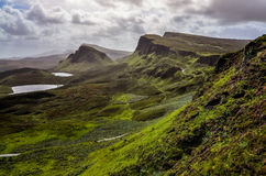 Landscape view of Quiraing mountains in Isle of Skye, Scottish h Royalty Free Stock Photo