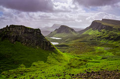 Landscape view of Quiraing mountains on Isle of Skye, Scottish h Stock Photo