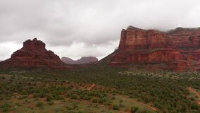 Landscape View Of Red Rock Formations in Sedona, Arizona, aerial