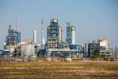 Landscape view of Refinery tower of oil and refinery plant Stock Photography
