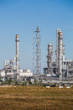 Landscape view of Refinery tower of oil and refinery plant Royalty Free Stock Images