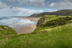 Rhossili Bay view, South Wales, UK Stock Images