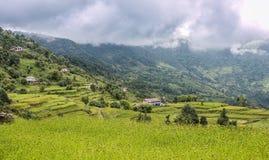 Landscape view of rice terraces in Kathmandu Valley, Nepal. Landscape view of rice terraces and rural villages in Kathmandu Valley, Nepal stock photography