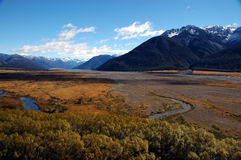 Landscape view of river flood plain in New Zealand Royalty Free Stock Photo
