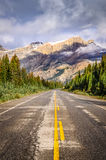 Landscape view of the road on Icefields parkway in Canadian Rock Royalty Free Stock Photos