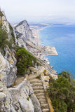 Landscape view of the Rock of Gibraltar, Africa and the beaches Stock Images