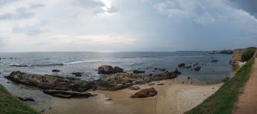 Landscape view on rocky coast ocean in Galle Srilanka Royalty Free Stock Photo