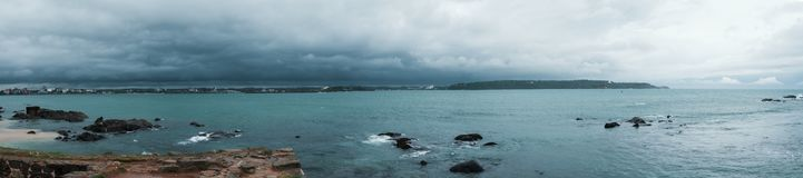 Landscape view on rocky coast ocean in Galle Srilanka in cloudy weather Stock Photo