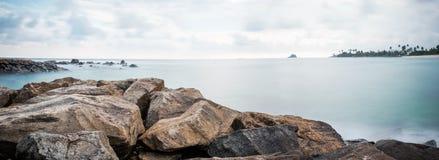 Landscape view on rocky coast ocean in Midigama Srilanka Stock Photos