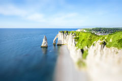 Landscape view on the rocky coastline in Etretat Stock Images