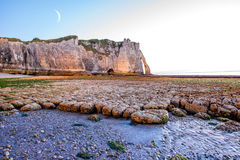 Landscape view on the rocky coastline in Etretat Royalty Free Stock Photography