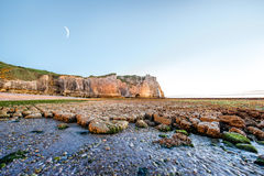 Landscape view on the rocky coastline in Etretat Royalty Free Stock Photo