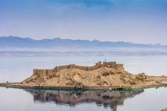 Landscape. View of Salah El Din Castle in the Gulf of Aqaba,Red Sea,Taba,Egypt stock image