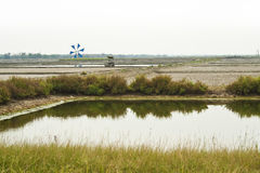 Landscape view of salt-pond Stock Photography