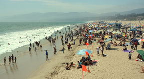 Landscape View of Santa Monica Beach on a Hot Summer Afternoon. Stock Photo