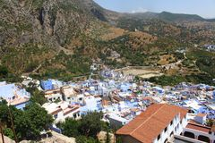 A view of colorful Chefchaouen Morocco from the hills above. Stock Images