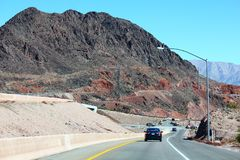 Landscape view of a Scenic road. In the red rock canyons during a blue sky royalty free stock photography