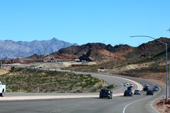 Landscape view of a Scenic road. In the red rock canyons during a blue sky stock photography