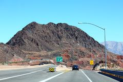 Landscape view of a Scenic road. In the red rock canyons during a blue sky stock images