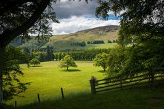 Scottish fields. Landscape view on Scottish fields near the highlands Royalty Free Stock Photo