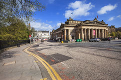 Landscape view of Scottish National Gallery. The neoclassical Royal Scottish Academy Building, and of the National Gallery of Scotland. Edinburgh, Scotland royalty free stock photography