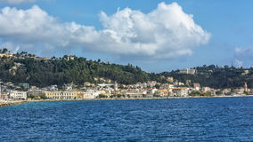 Landscape. View from the sea to the embankment of the capital of Royalty Free Stock Photo