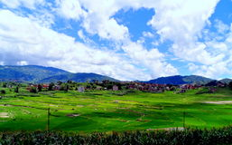 A Landscape View. It is a view of a landscape seen from a place in Bhaktapur towards hills of Nagarkot stock photography