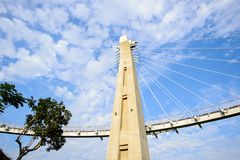 Landscape View of Siaogangshan Skywalk Park, which is shaped on the image of a violin, with the cables serving as its strings at G. Angshan, Kaohsiung, Taiwan royalty free stock photos