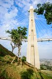 Landscape View of Siaogangshan Skywalk Park, which is shaped on the image of a violin, with the cables serving as its strings at G. Angshan, Kaohsiung, Taiwan stock images