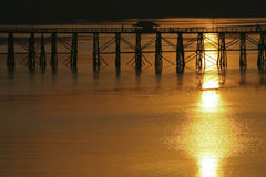 Landscape view of silhouette bridge across river Royalty Free Stock Image