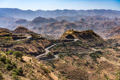 Landscape view of the Simien Mountains National Park in Northern Ethiopia royalty free stock photo