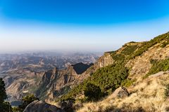 Landscape view of the Simien Mountains National Park in Northern Ethiopia royalty free stock image